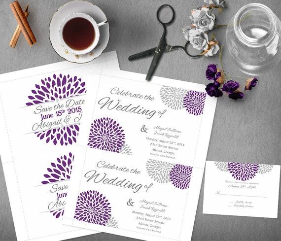 Purple Rustic Wedding Invitations: Silver Purple Wedding Invitation Template Invitation Suite