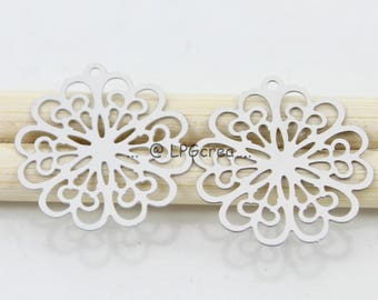 Prints silver matte flower set of 2 20mm - stainless #815 diam.