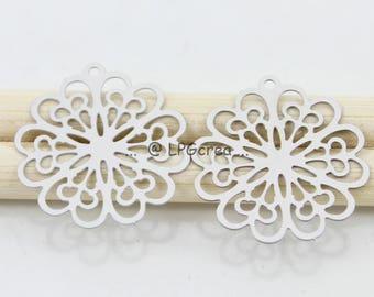 "Prints 2 matte silver ""flower""Diam 20mm - #L20 stainless steel """