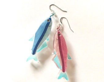 "PRE ORDER Pisces ""Two Fish"" Star Sign Horoscope Laser cut acrylic earrings dangle drop Pink and Blue"