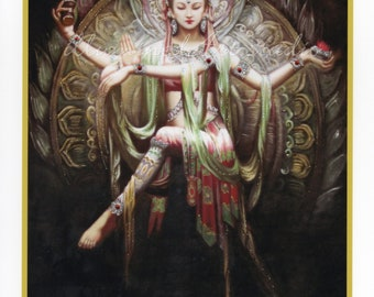 Art Print: Dancing Shakti Hand-Embellished
