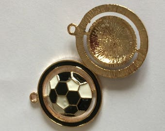 soccer ball: gold and black and white enamel
