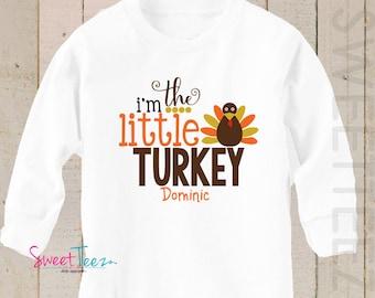I'm the Little Turkey Shirt Baby Girl Big Turkey Bodysuit LONG SLEEVE Thanksgiving Shirt Boy Girl  Personalized Shirt Girl