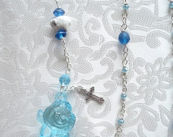 Friendly Aqua Lion, Lamb and Dove Anglican Rosary