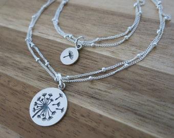 Dandelion Mother and daughter Bracelet,Make a wish for Mother daughter Jewelry,Wish bracelet,Make a wish,Mother and Daughter,Satellite chain