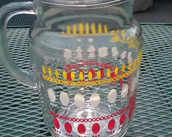 1950s Red, White and Yellow Oval Dot Pitcher