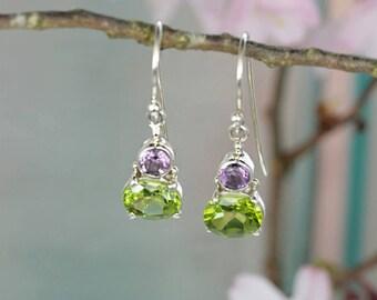Sterling Silver Drop Earrings with Peridot & Amethyst Stones / Shamrock / August Birthstone Hook Earrings