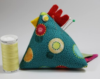 Chicken Pincushion--Teal with Large Dots