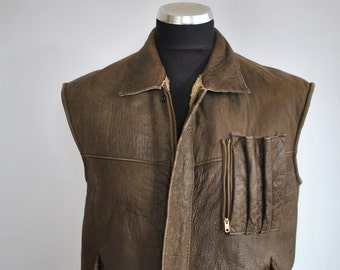 Vintage MANIS AIRCRAFT COLLECTION men's shearling vest, Mad Max lamb fur vest  .............(049)