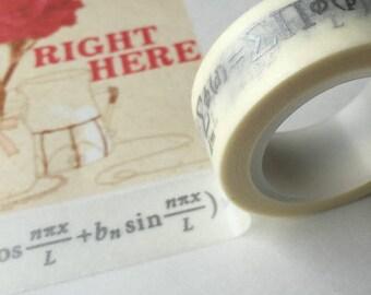 Washi tape (washi) - silver math formulas