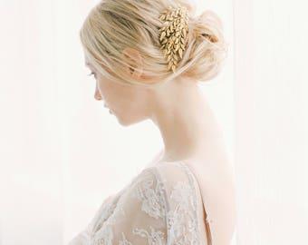 Bridal Hair Comb, Gold Leaf hair comb, Bridal hair wreath, Wedding Accessories, Leaf clip, bridal hair piece, Grecian Hair Vine, , #1026