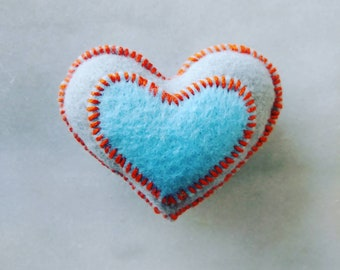 Felt Catnip Toy, Heart, Organic Catnip, Handsewn, Handmade, Cat Toy, Catnip Toys for Cats