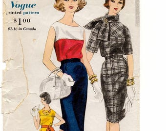 """A Slim Skirt, Elbow-Length or Sleeveless Dress w/Collar Variations and Scarf Sewing Pattern for Women: Retro Size 12, Bust 32"""" • Vogue 5251"""