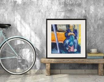 Art Oil Painting New York City Woman Knitting Subway Rider PRINT