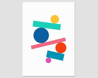 Contemporary art print, modern abstract, minimal print, bold colourful, geometric wall art, A3 giclée art print, shapes print