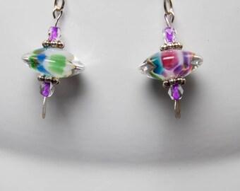 Lampwork rainbow disc earrings-A371