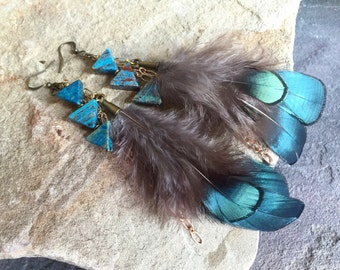 Long Boho Arrow & Feather Earrings - Calsilica Arrows with Teal Feathers and Gold Bronze Accents - Bohemian Earrings - Boho Chic Earrings