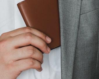 SPECTER Bifold Mens Leather Wallet   Full Grain Vegetable Tanned / Cross-Grain Leather   Slim Leather Wallet