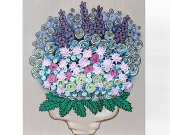 Still Life Painting on Canvas Wall Art of Sculpted Floral Bouquet - Small 16x20