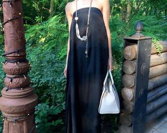 Plus Size Maxi Dress, Black Maxi Dress, Victorian Dress, Bridesmaid Dress, Open Back Dress, Loose Dress, Black Party Dress, Gothic Dress