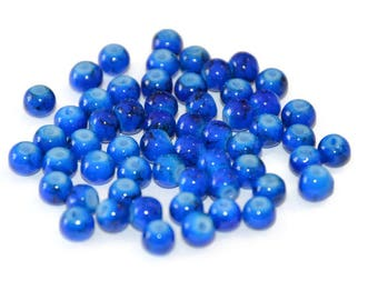 20 dark blue speckled beads 4mm (M-7)
