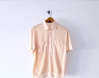 50% of Proceeds go to Planned Parenthood! Vintage Millennial Pink Short Sleeve Mesh Shirt, 80's Shirt by Alan Stuart, Dusty Rose Polo Shirt