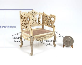 Miniature 1:12 Scale Louis XVI Ornate Carved Chair For Doll House [Unfinished]