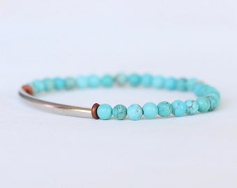 Turquoise and Silver Tube Skinny