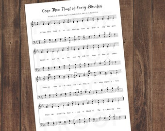Sheet Music Wall Art, Printable Download, Come Thou Fount vs.1