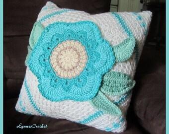 Aqua Crocheted Flower Pillow Cover  . . .