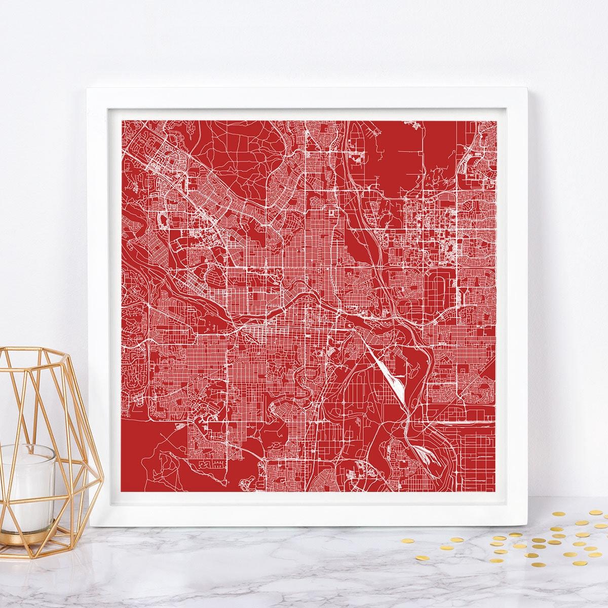 CALGARY Alberta CITY MAP Poster Line Art City Map Road Map