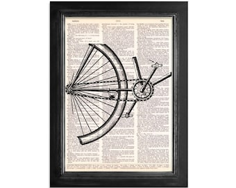 Vintage Bicycle Close Up - print on Vintage Dictionary Paper - 8x10.5