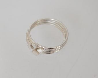 Set of Silver Stacking Rings, Set of Four Rings, Modern Stacking Rings, Stackable Rings, Sterling Silver Stacking Ring, Diamond Ring