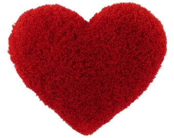 Curly Shag Red Heart Valentine Decorative Toss Pillow Gift for Her- Small Size