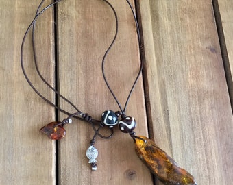 Baltic Amber Surfers Necklace - Wave 2