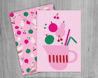 Pink Fruit Punch Greetings Card, Envelope and Wrapping paper Pack. A4 Printable digital download.