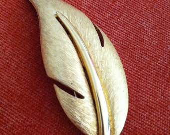 Brushed Gold Tone Modern Leaf Vintage GIVENCHY Brooch