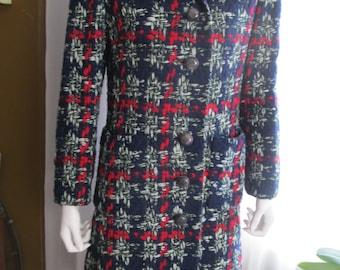 On Sale-------1960's BULLOCK'S WILSHIRE Ladies Red-Gray-Blue Wool Crochet-Look Coat
