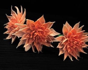 Sugar flowers - clay flowers - cake topper peach dahlia