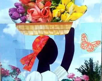 Basket of Flowers ORIGINAL Haitian Art  Collage