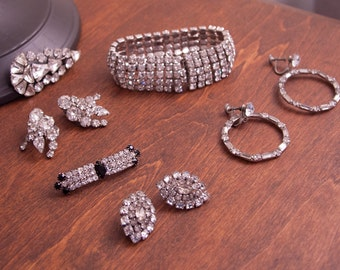 Clear Rhinestone Jewelry Lot