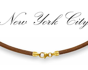 """2mm Natural Leather Cord Necklace 14"""" inches - 36"""" inches with 14K Gold Filled Clasp, You choose length. LCR0200NATG"""