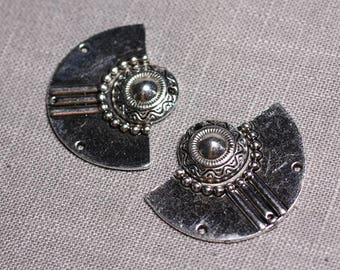 2PC - great connectors pendants silver Aztec ethnic 37mm - 4558550095381 Moon earrings