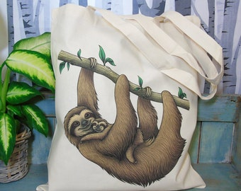Sloths Illustration Eco Tote Bag ~ 100% Cotton Long Handles