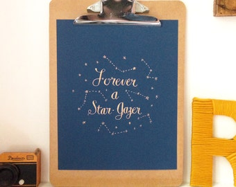 Star Gazer - 5x7, 8x10, 11x14 Gold on Navy Art Print