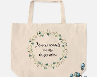 Over sized tote, tote bag, fun totes, farmer's market bag, shopping bag, carry all bag, gift for friend, wreath graphic, farmhouse style