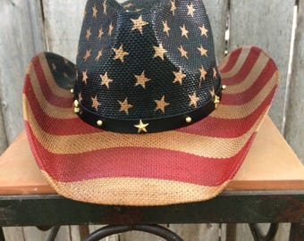 Red White and Blue Stars and Stripes Vintage Look Cowboy Hat