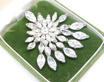 Vintage Rhinestone Brooch Pin in Original Coronation Box