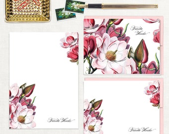 complete personalized stationery set - MAGNOLIA BLOSSOM - note cards - floral notepad - stationary - customized - letter writing set