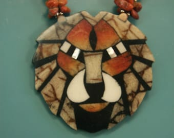 Amazing rare vintage 1970s handcrafted lion head necklace designed by worldknown hawaiian designer/artist Lee Sands